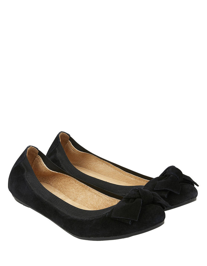 Olivia Elasticated Suede Bow Ballerina Flats