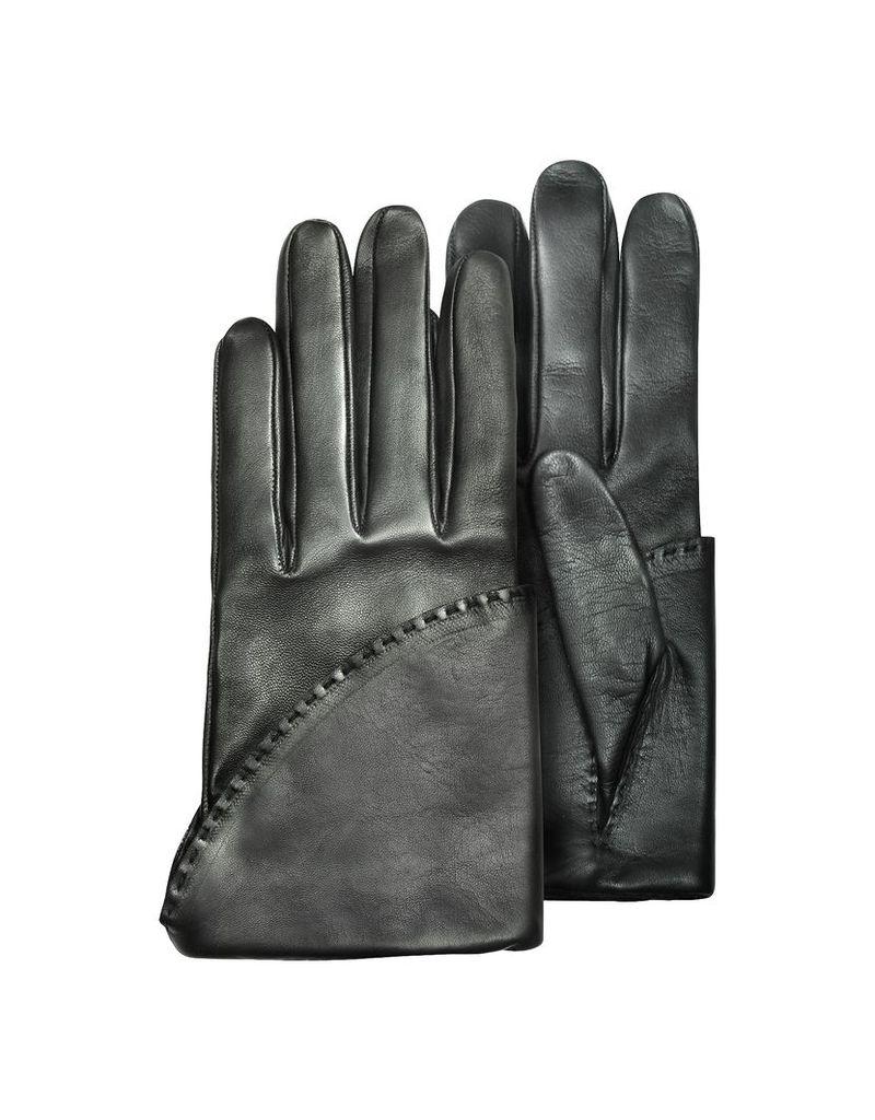 Pineider Women's Gloves, Women's Black Short Nappa Gloves w/ Silk Lining