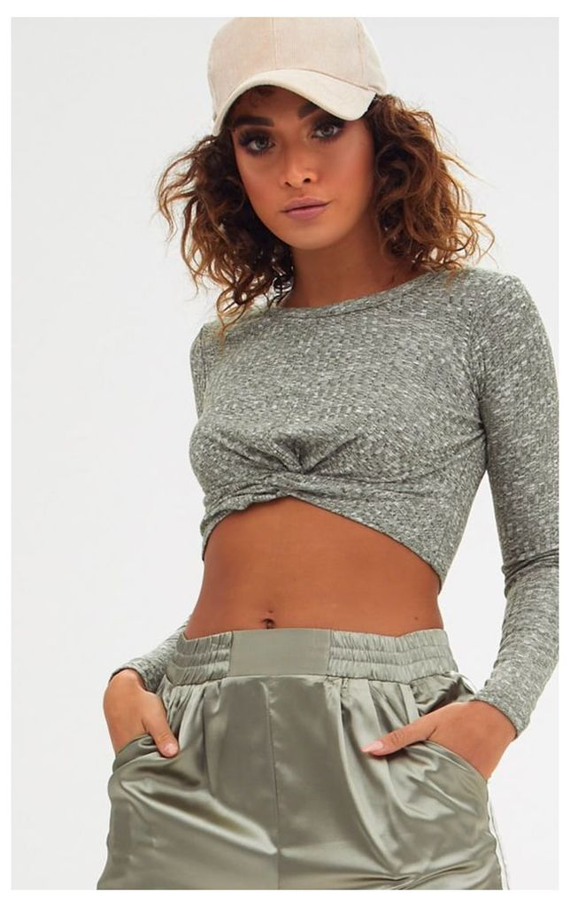 Khaki Marl Ribbed Knot Front Longsleeve Crop Top