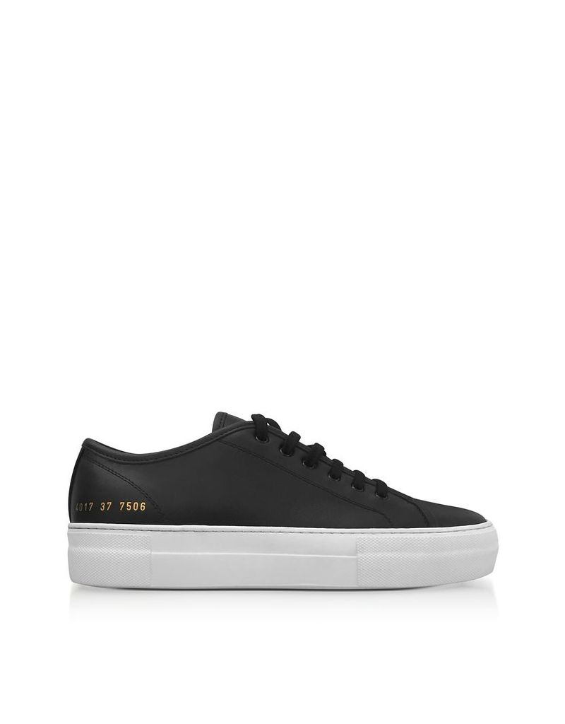 Common Projects Shoes, Black Leather Tournament Low Super Women's Sneakers