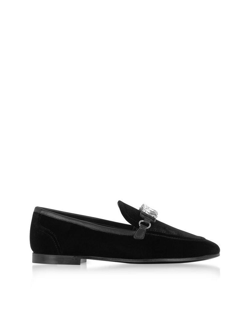 Giuseppe Zanotti Shoes, Black Velvet Loafers w/Crystals