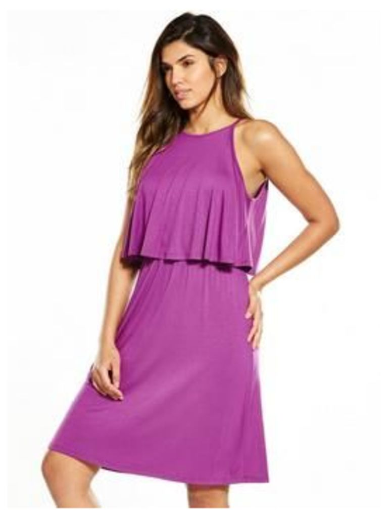 V by Very Tiered Day Dress, Magenta, Size 12, Women