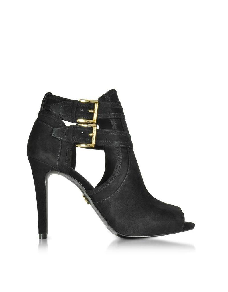 Michael Kors Shoes, Blaze Black Suede Heel Open Toe Booties