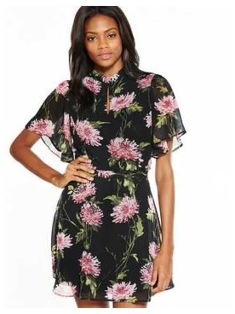 V by Very Fluted Sleeve Tea Dress, Print, Size 14, Women