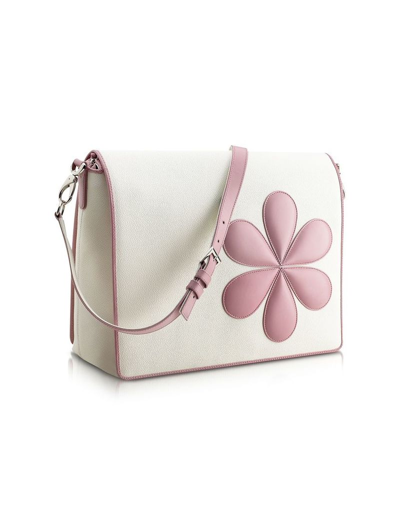 Pineider Travel Bags, Pink Flower Messenger Changing Bag
