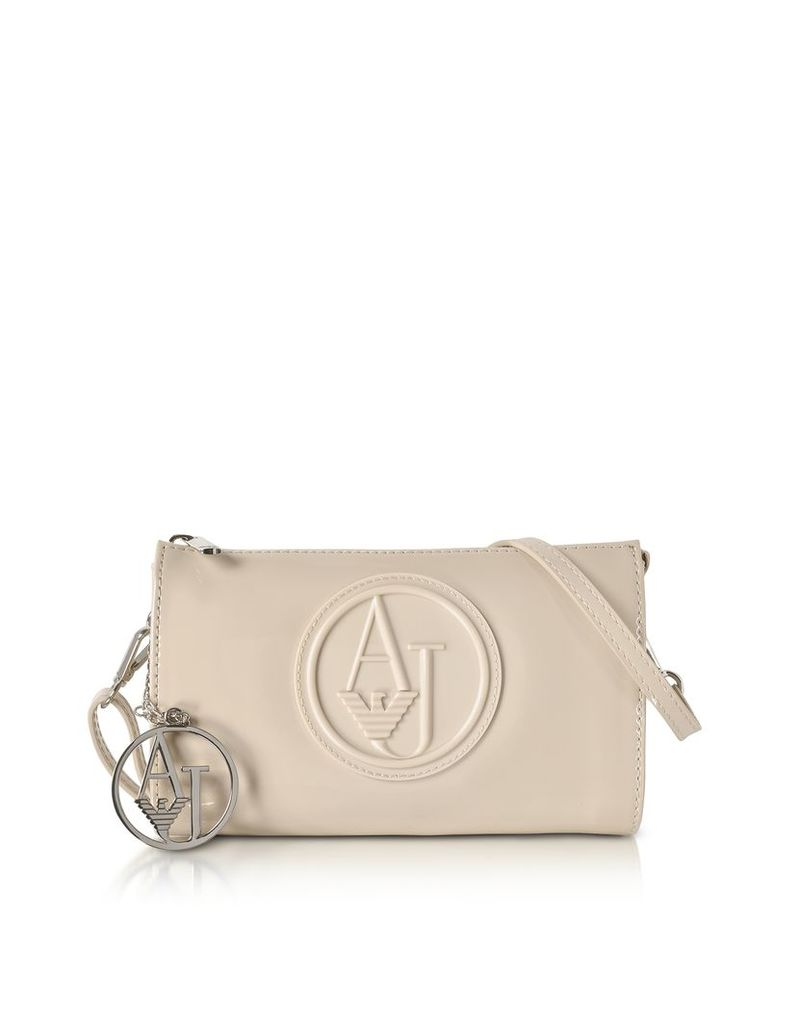 Armani Jeans Handbags, Beige Faux Patent Leather Mini Crossbody Bag