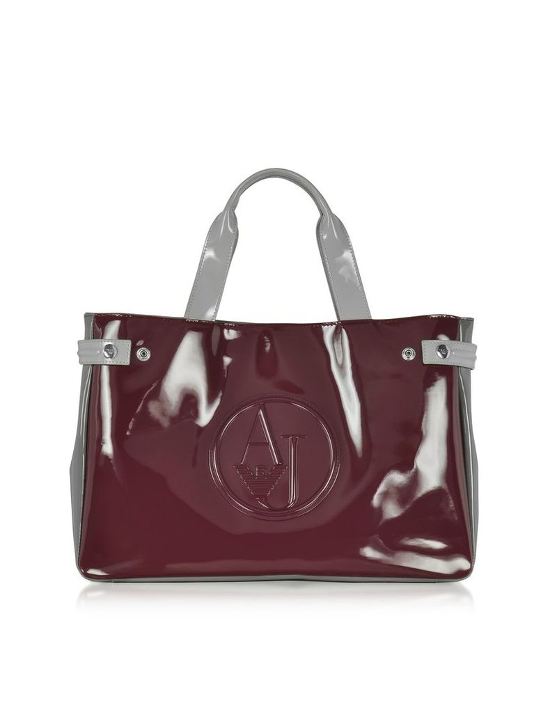 Armani Jeans Handbags, Large Burgundy, Taupe and Light Gray Faux Patent Leather Tote Bag