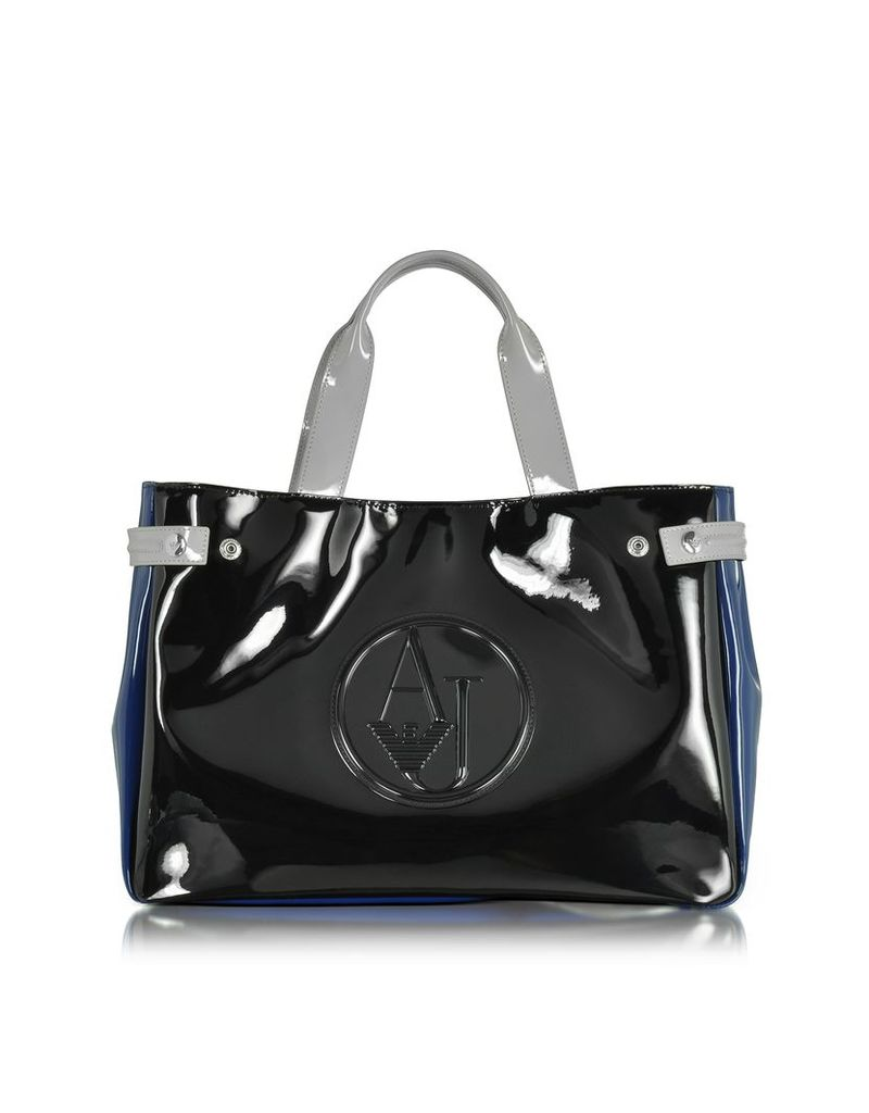Armani Jeans Handbags, Large Black, Blue and Light Gray Faux Patent Leather Tote Bag