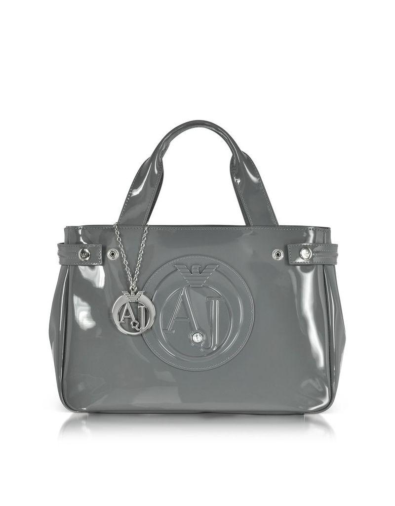 Armani Jeans Handbags, Medium Gray Faux Patent Leather Tote Bag