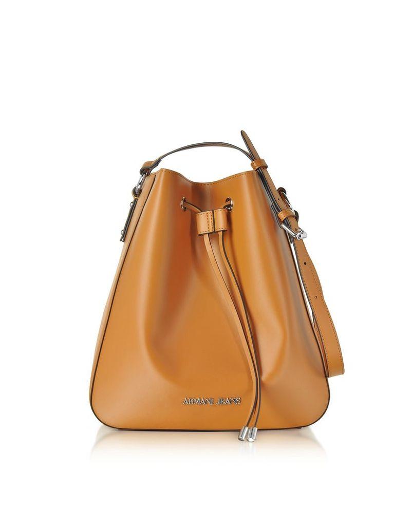 Armani Jeans Handbags, Pumpkin Eco Leather Signature Bucket Bag