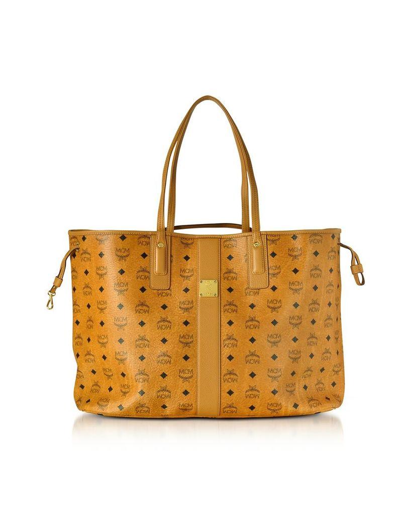 MCM Handbags, Cognac Shopper Project Visetos Liz Reversible Large Tote