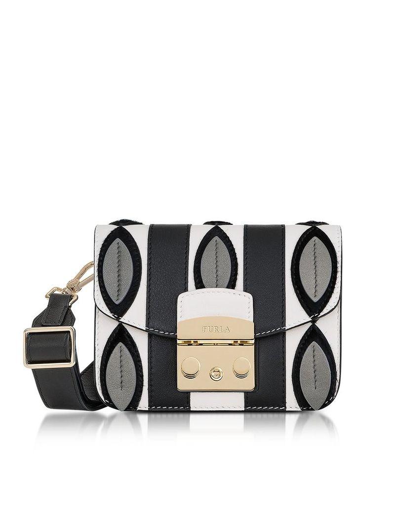 Furla Handbags, Onyx and Petalo Optical Print Metropolis Mini Crossbody Bag