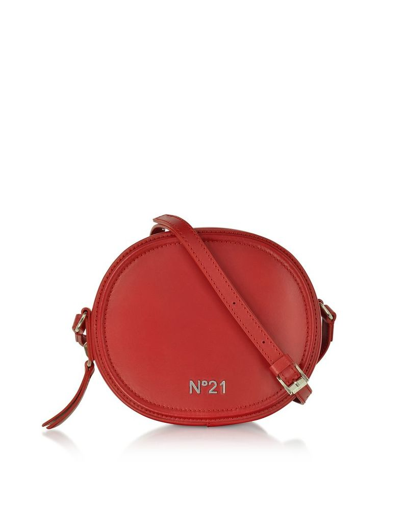 N°21 Handbags, Coral Leather Tambourine Crossbody Bag w/Metallic Embossed Logo