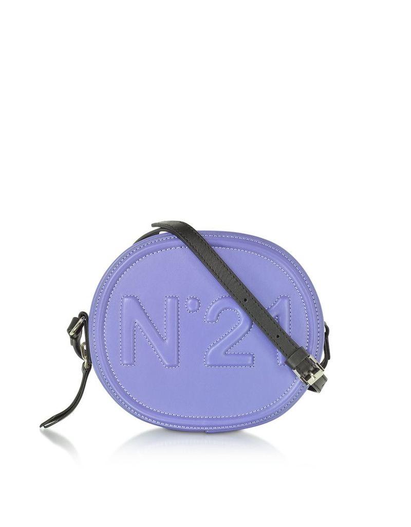N°21 Handbags, Liliac Leather Oval Crossbody Bag w/Embossed Logo