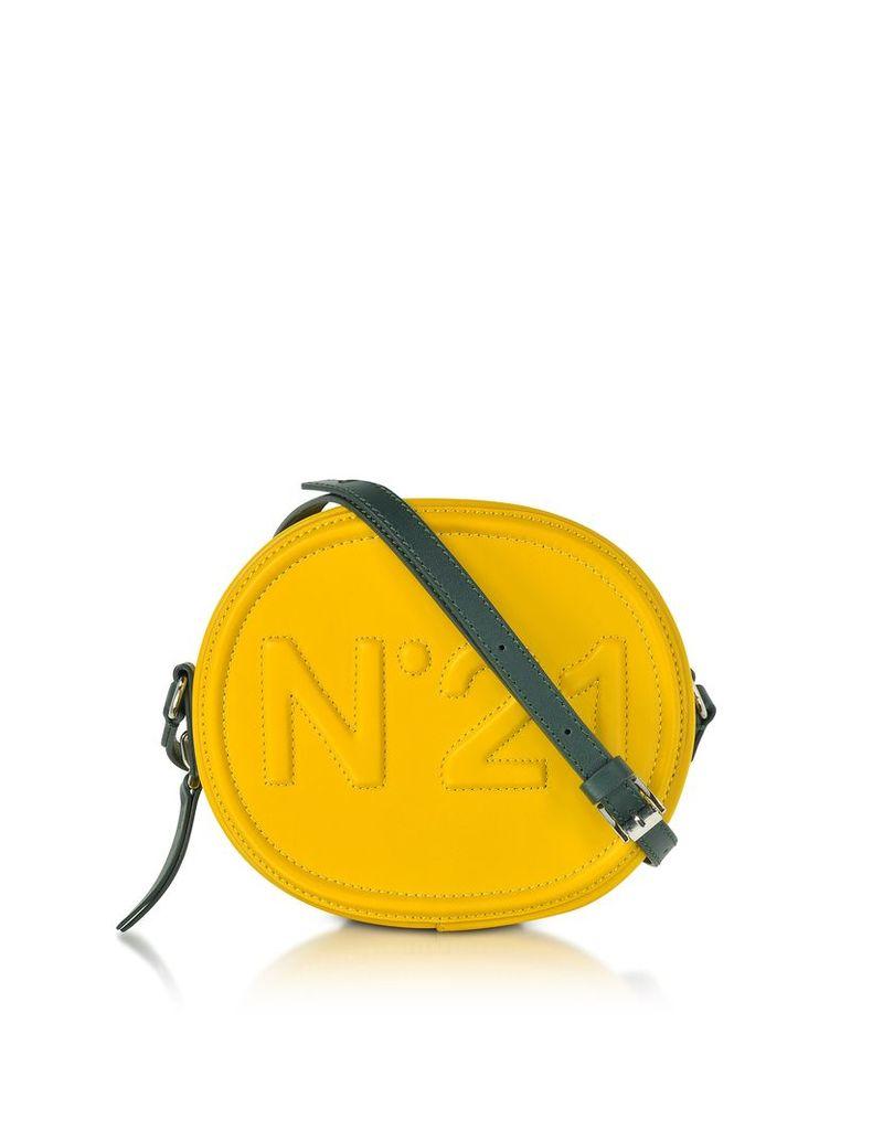N°21 Handbags, Yellow Leather Oval Crossbody Bag w/Embossed Logo