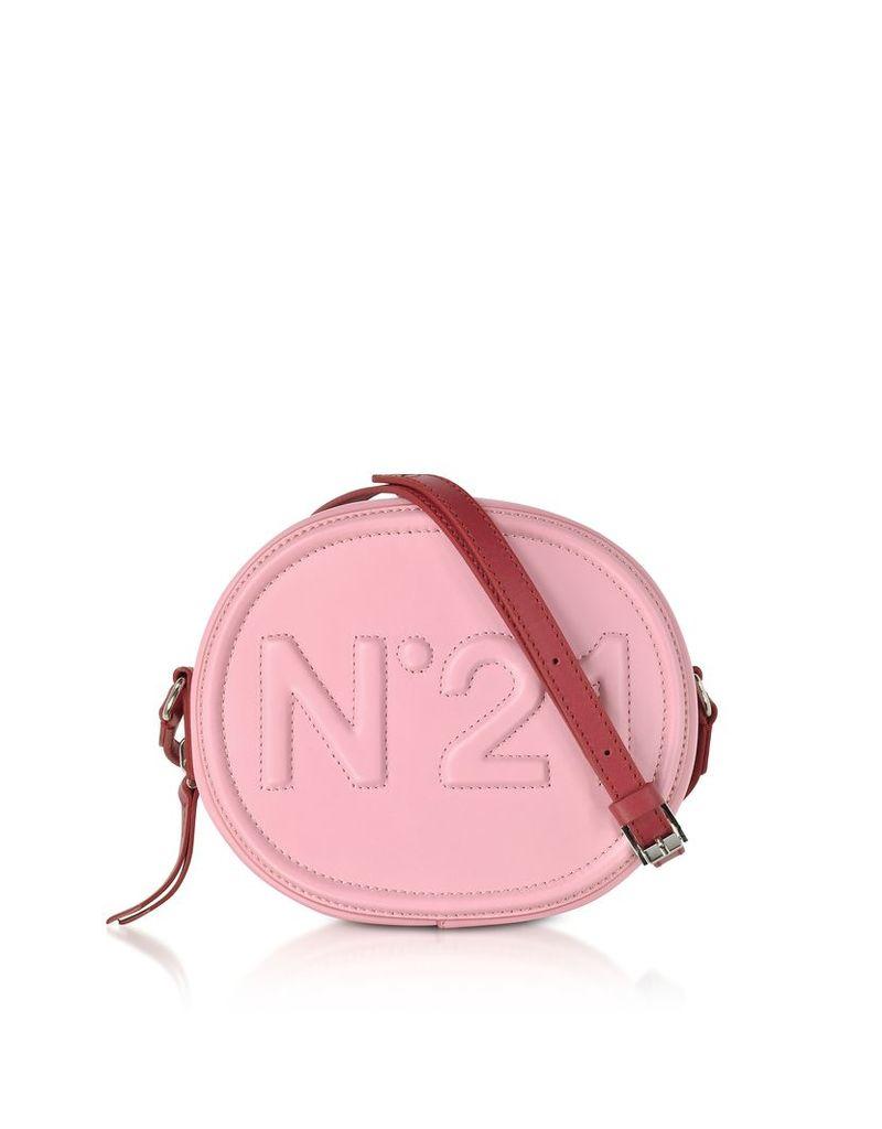 N°21 Handbags, Pink Leather Oval Crossbody Bag w/Embossed Logo