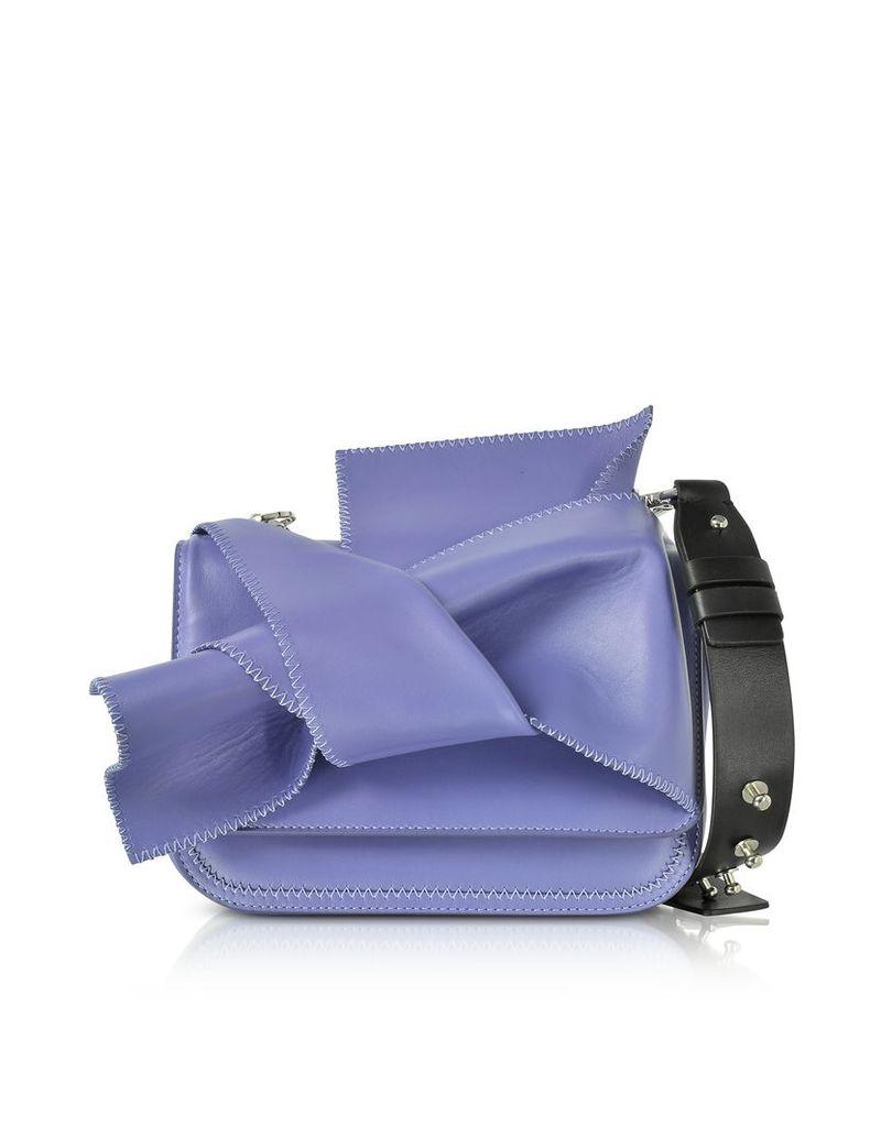N°21 Handbags, Small Liliac Leather Bow Shoulder Bag w/Black Leather Shoulder Strap