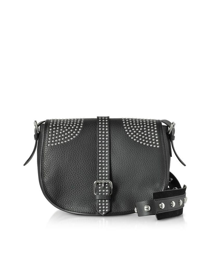 RED Valentino Handbags, Black Grained Leather Shoulder Bag w/Studs
