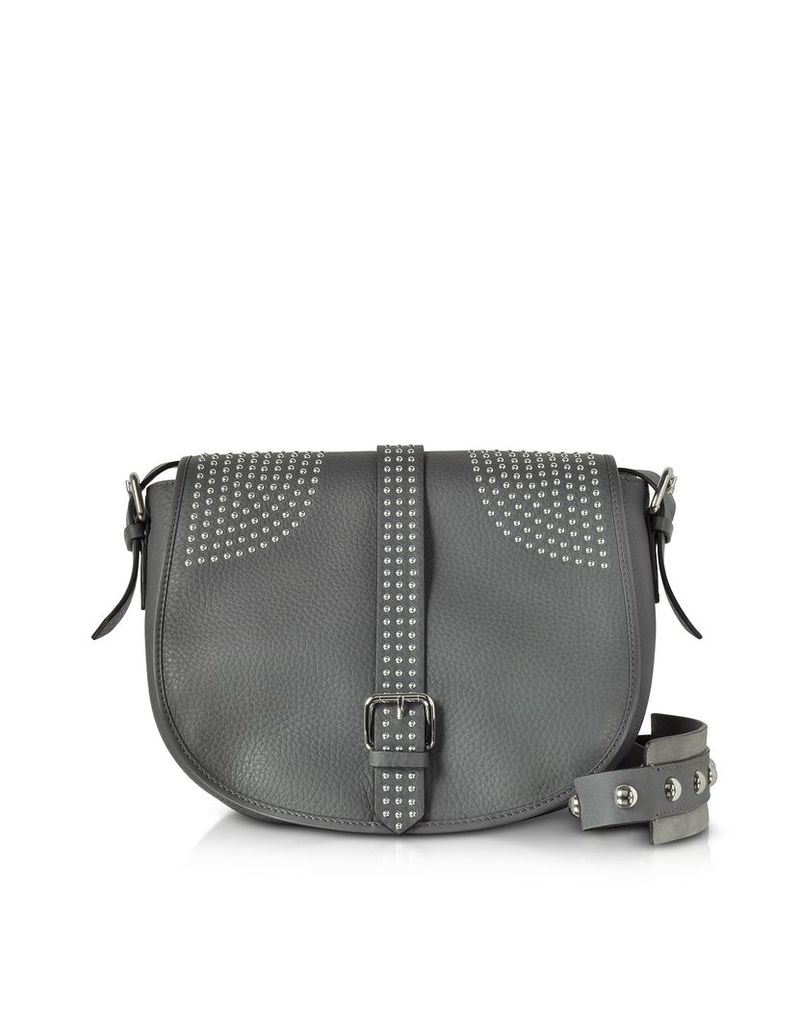 RED Valentino Handbags, Anthracite Grained Leather Shoulder Bag w/Studs