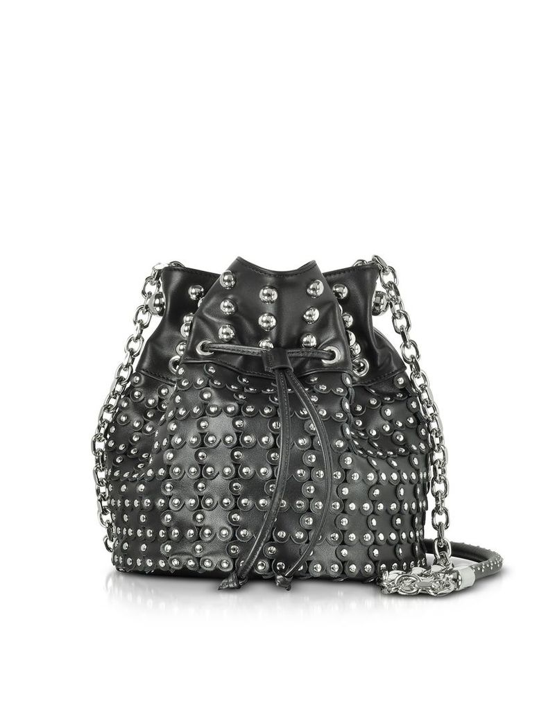RED Valentino Handbags, Black Leather Flower Puzzle Bucket Bag