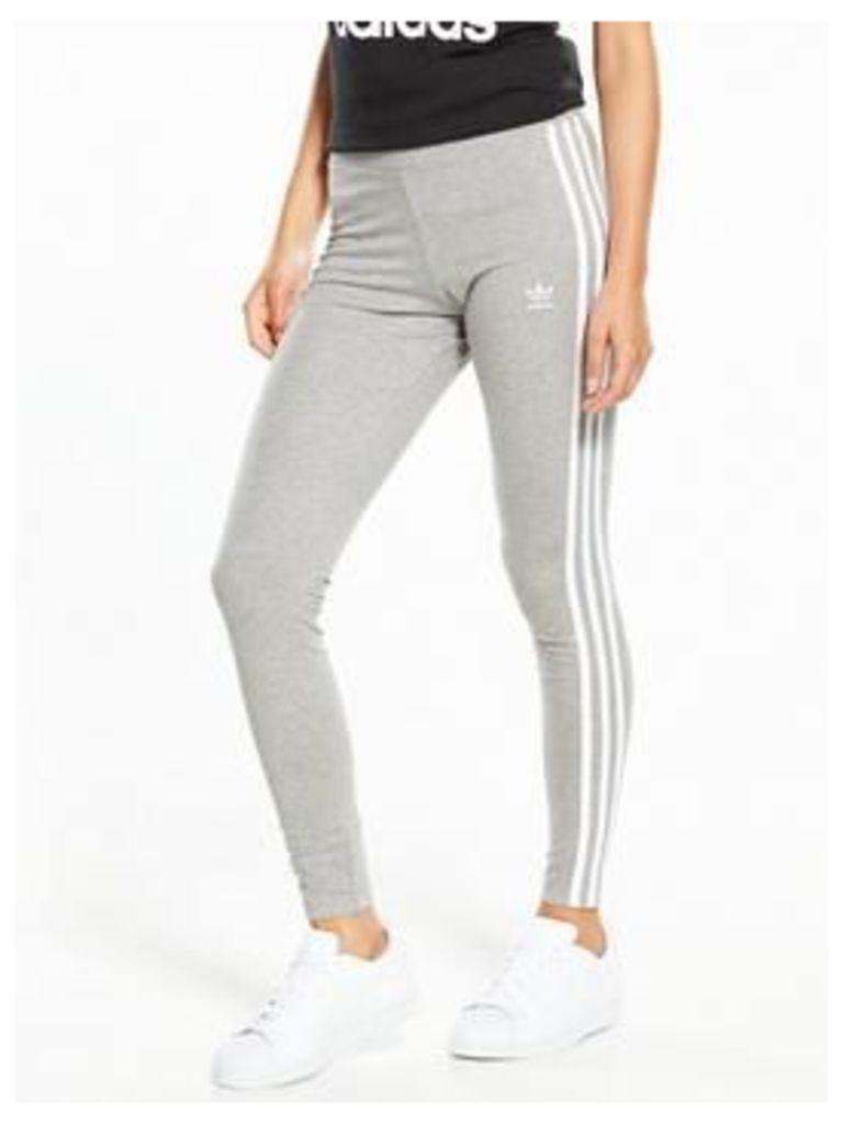 adidas Originals 3 Stripe Leggings - Medium Grey Heather , Medium Grey Heather, Size 12, Women