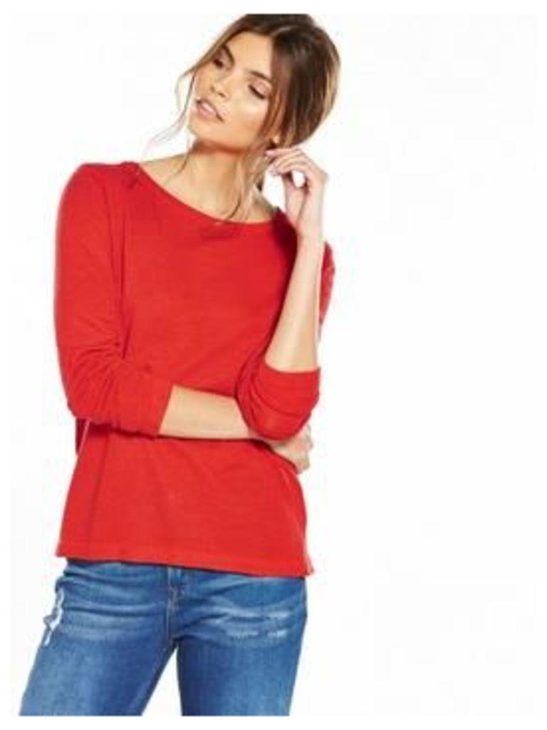 Vila Lania Long Sleeve Top, Red, Size 10=M, Women