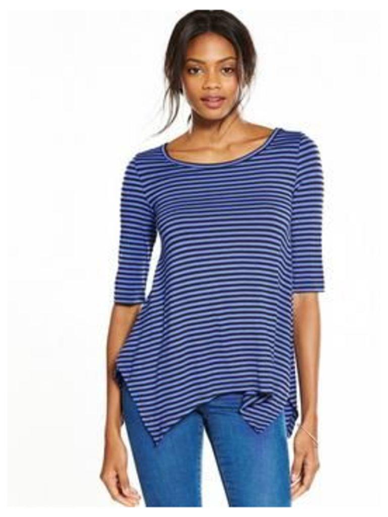 V by Very Three-quarter Sleeve Swing Top, Stripe, Size 18, Women