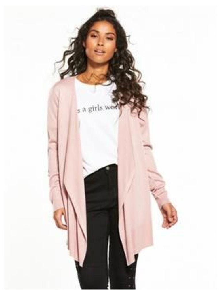 V by Very Drape Front Waterfall Cardigan - Dusky Pink, Dusky Pink, Size 10, Women