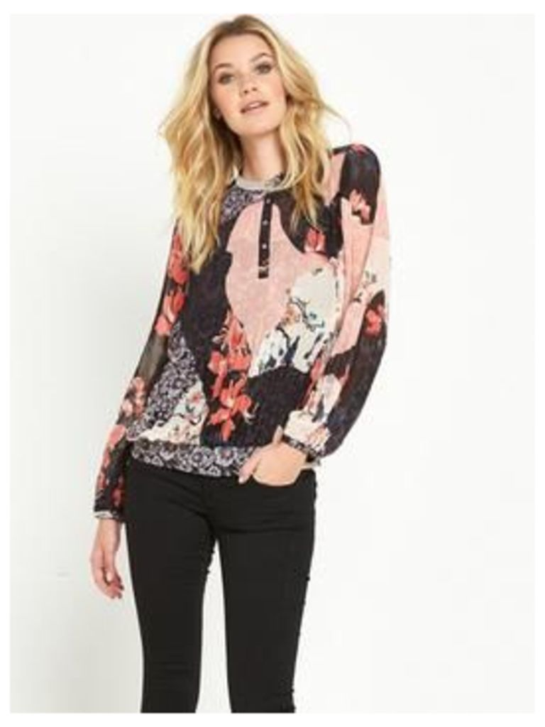 Guess ALVA BLENDED BLOOMS PLEATED TOP, Multi, Size L, Women