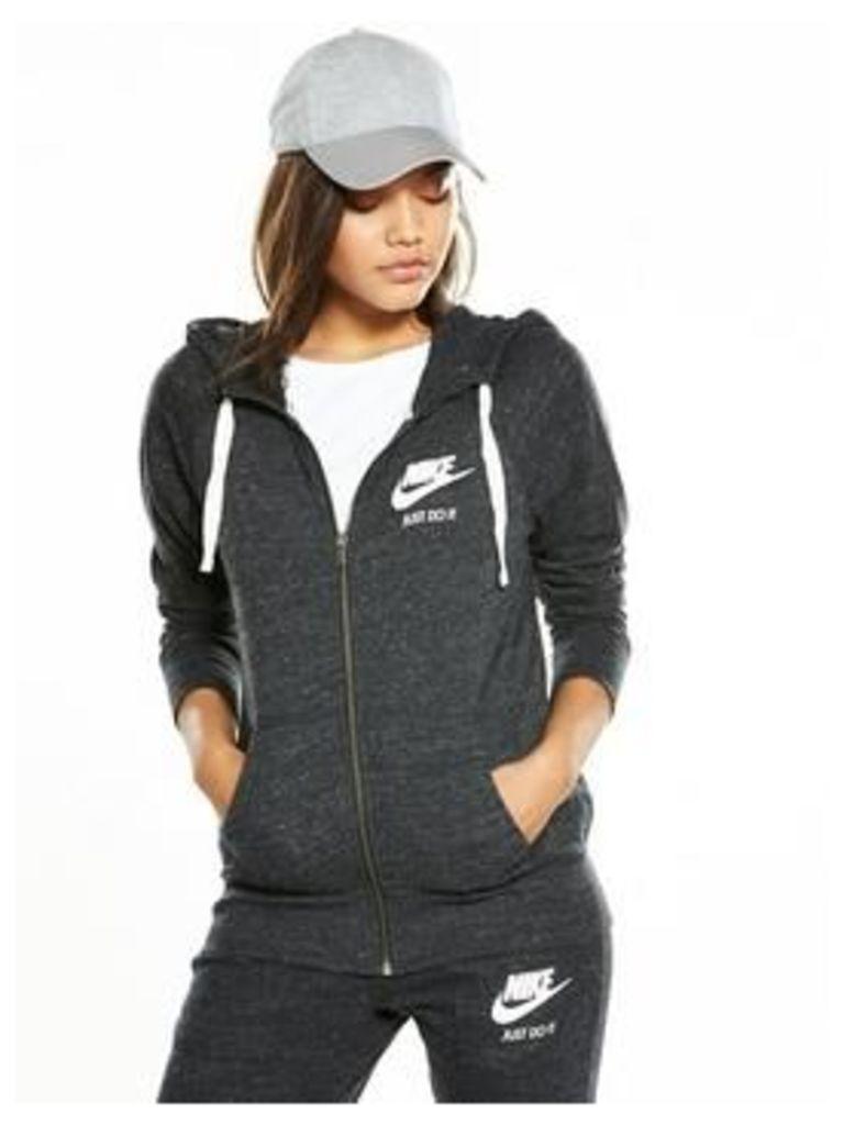 Nike Gym Vintage Full-Zip Hooded Top, Black, Size S, Women
