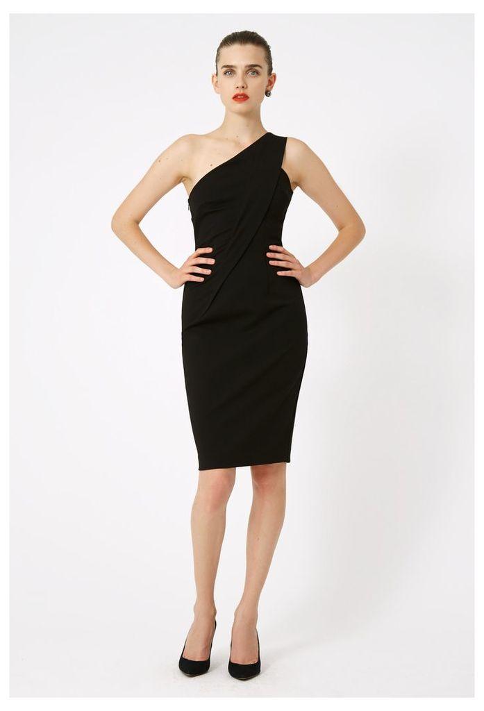 Irene One Shoulder Midi dress - Black