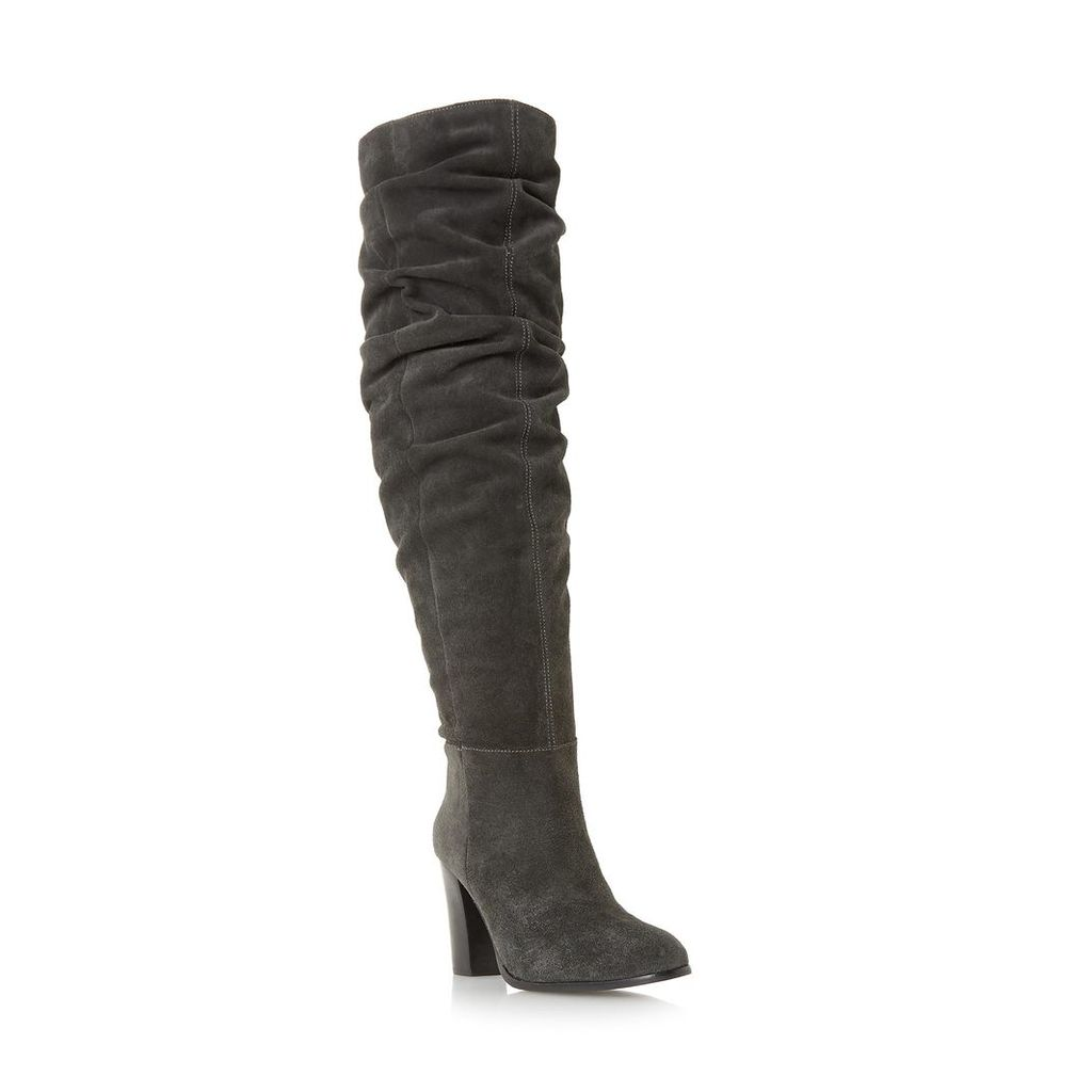 Vegas Ruched Knee High Heeled Boot