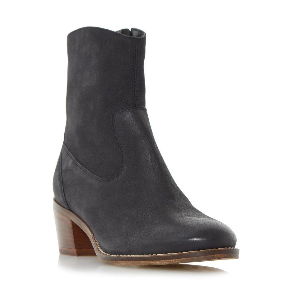 Pocket Causal Block Heel Ankle Boot