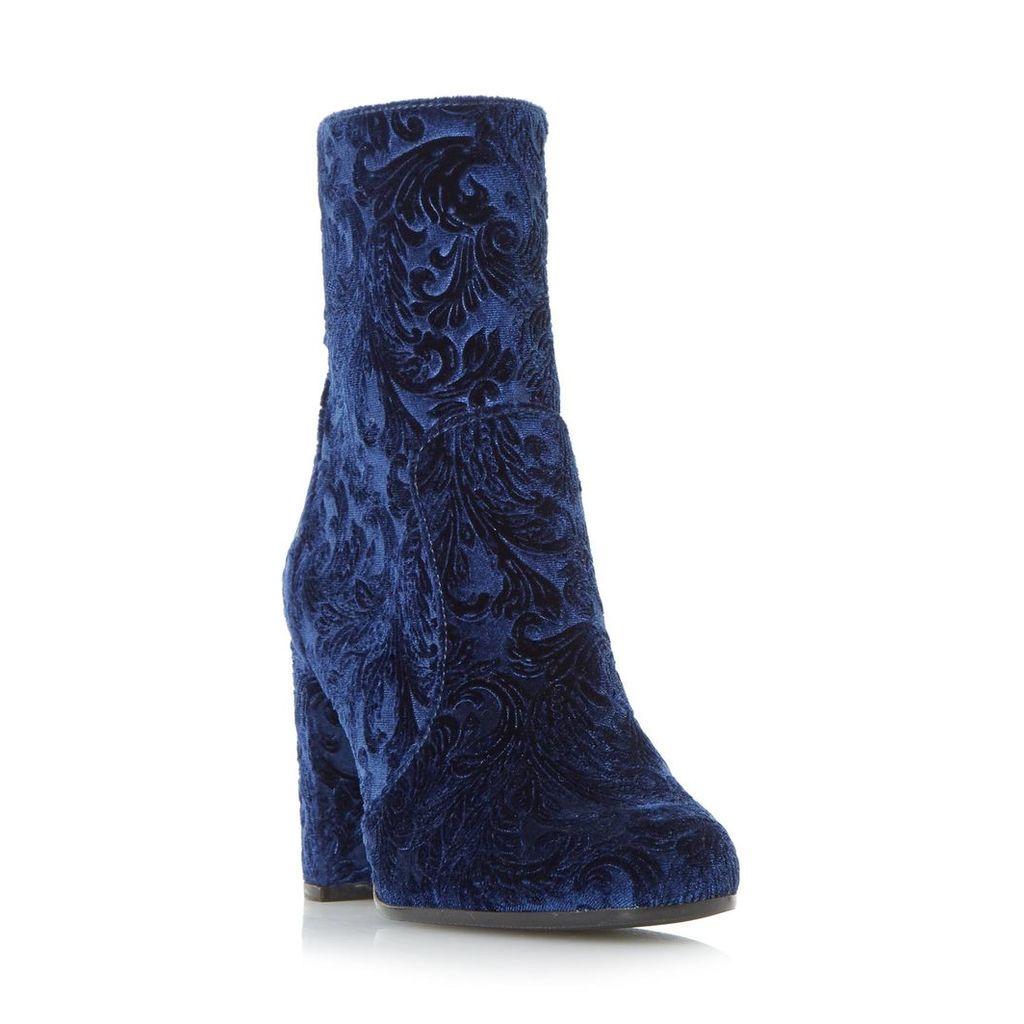 Orsina Velvet Brocade Block Heel Ankle Boot