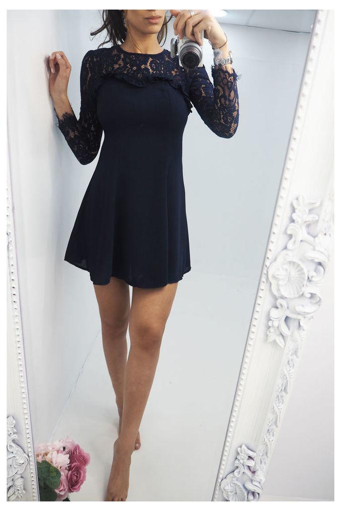Ellin Navy Lace & frill skater dress