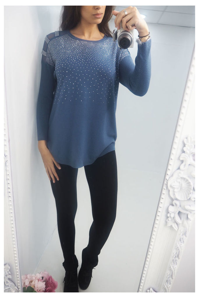 Michelle scattered crystal knitted jumper