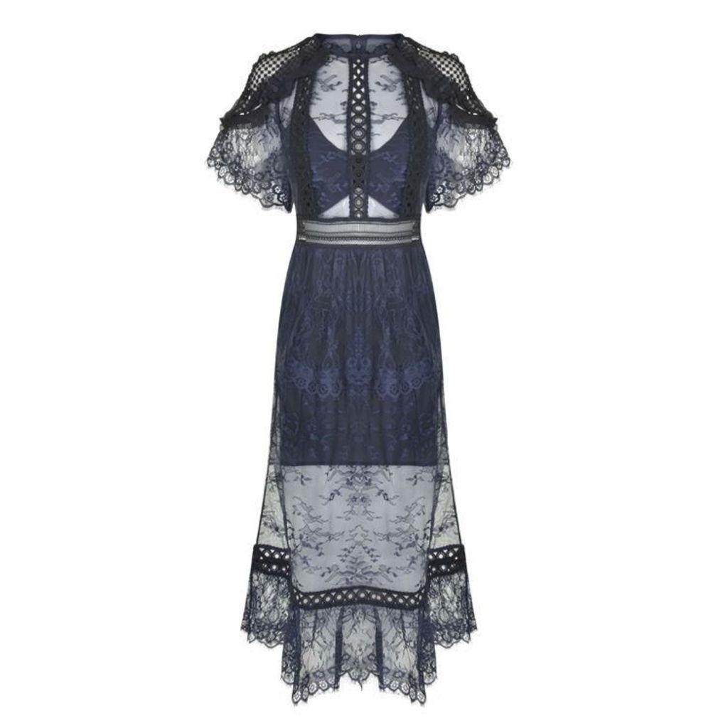 SELF PORTRAIT Frill Shoulder Lace Dress