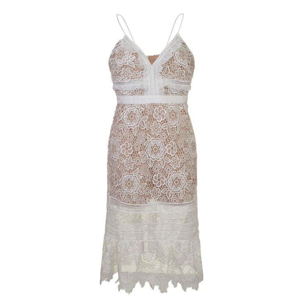 SELF PORTRAIT Floral Blush Midi Dress