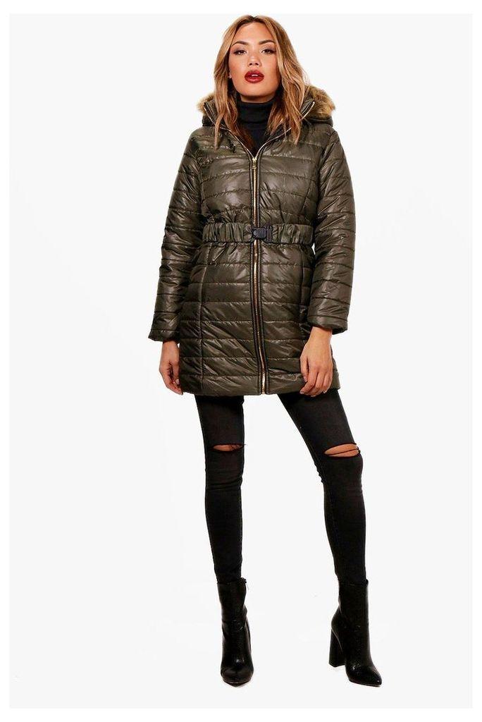 Longline Quilted Coat - khaki
