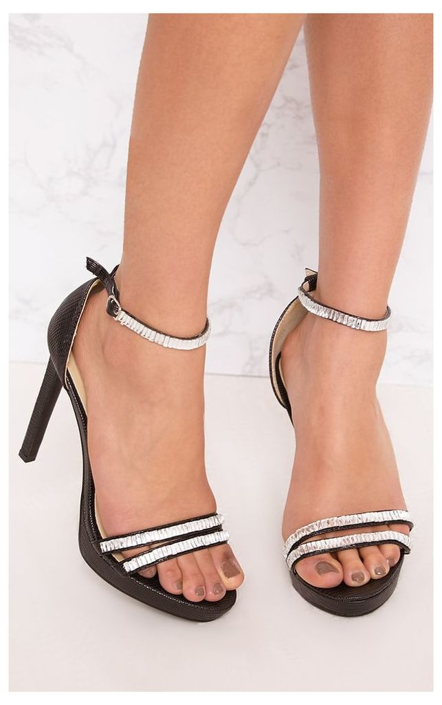 Black Jewelled Strappy Heeled Sandals, Black