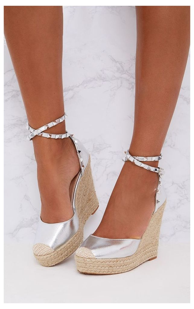 Silver Studded Strap Wedges, Grey