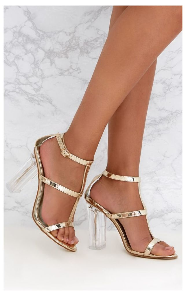 Gold Clear Heel Caged Sandals, Yellow