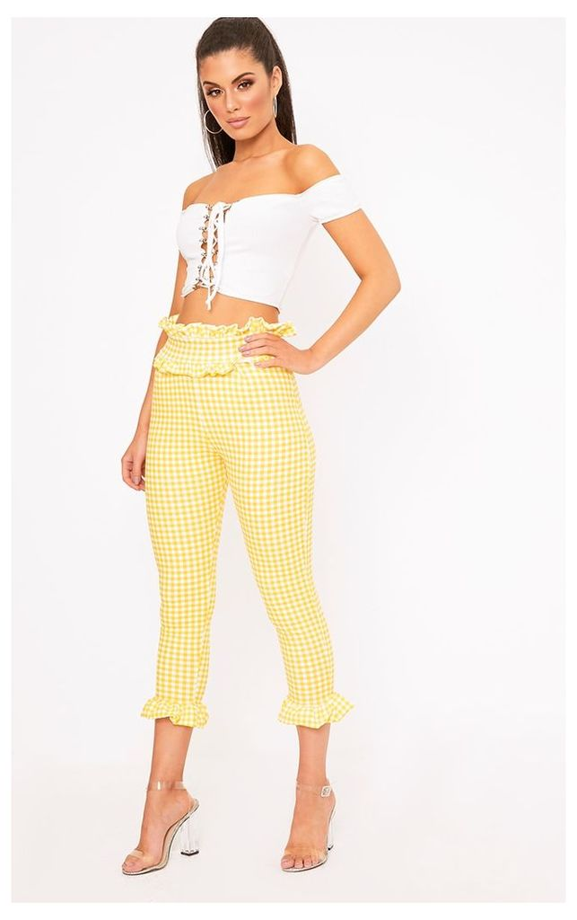 Keren Yellow Gingham Frill Trim Trousers, Yellow