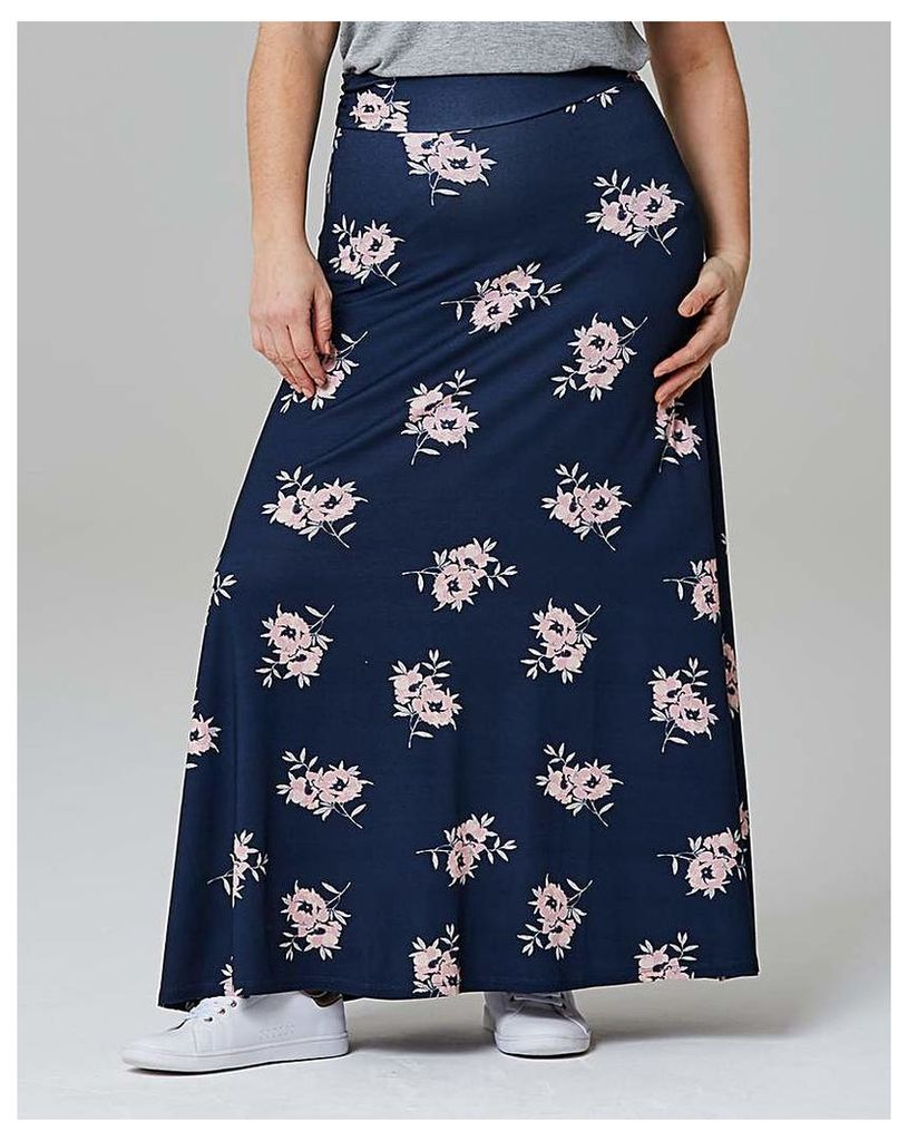 Printed Stretch Jersey Maxi Skirt