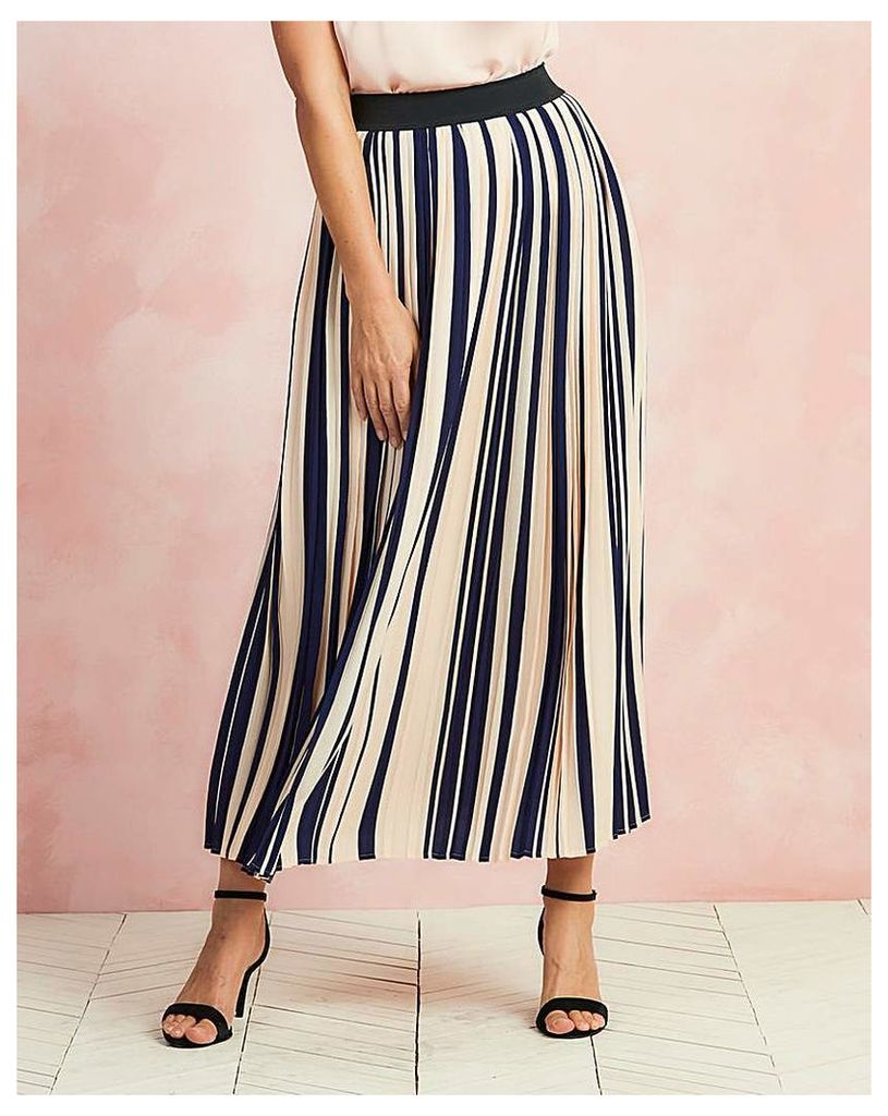 Striped Pleat Maxi Length Skirt