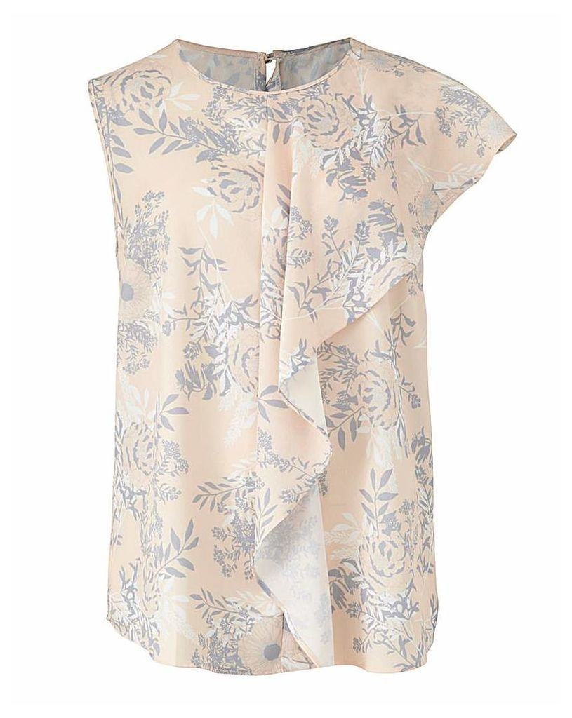 Blush Print Sleeveless Drape Front Top