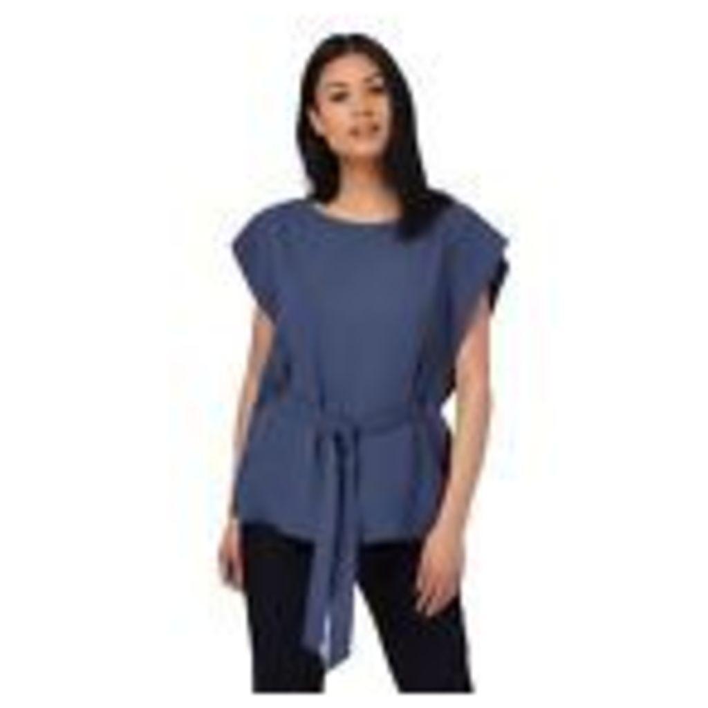 J By Jasper Conran Womens Blue Self-Tie Waist Top From Debenhams 16