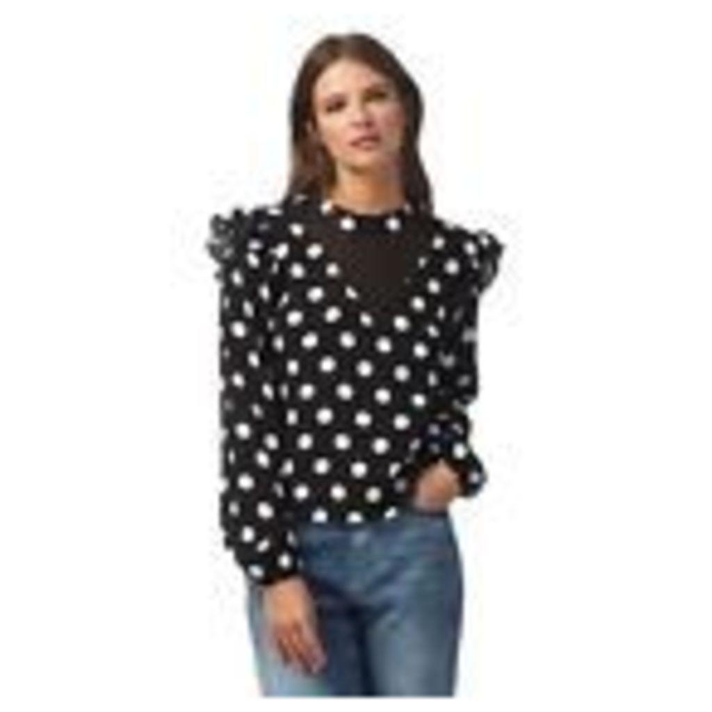 H! By Henry Holland Womens Black Polka Dot Print Frilled Top From Debenhams 6