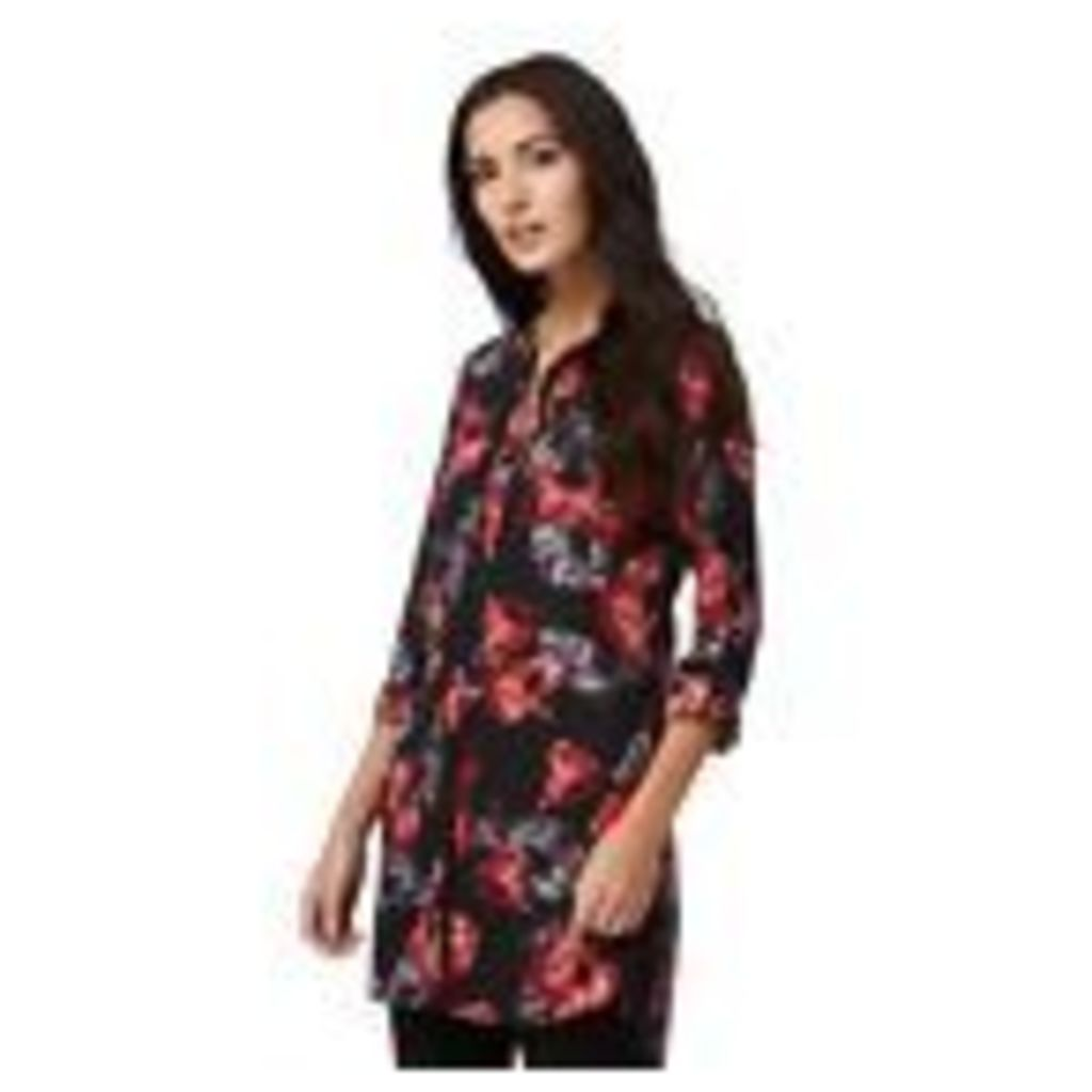 The Collection Womens Black Floral Print Longline Shirt From Debenhams 8