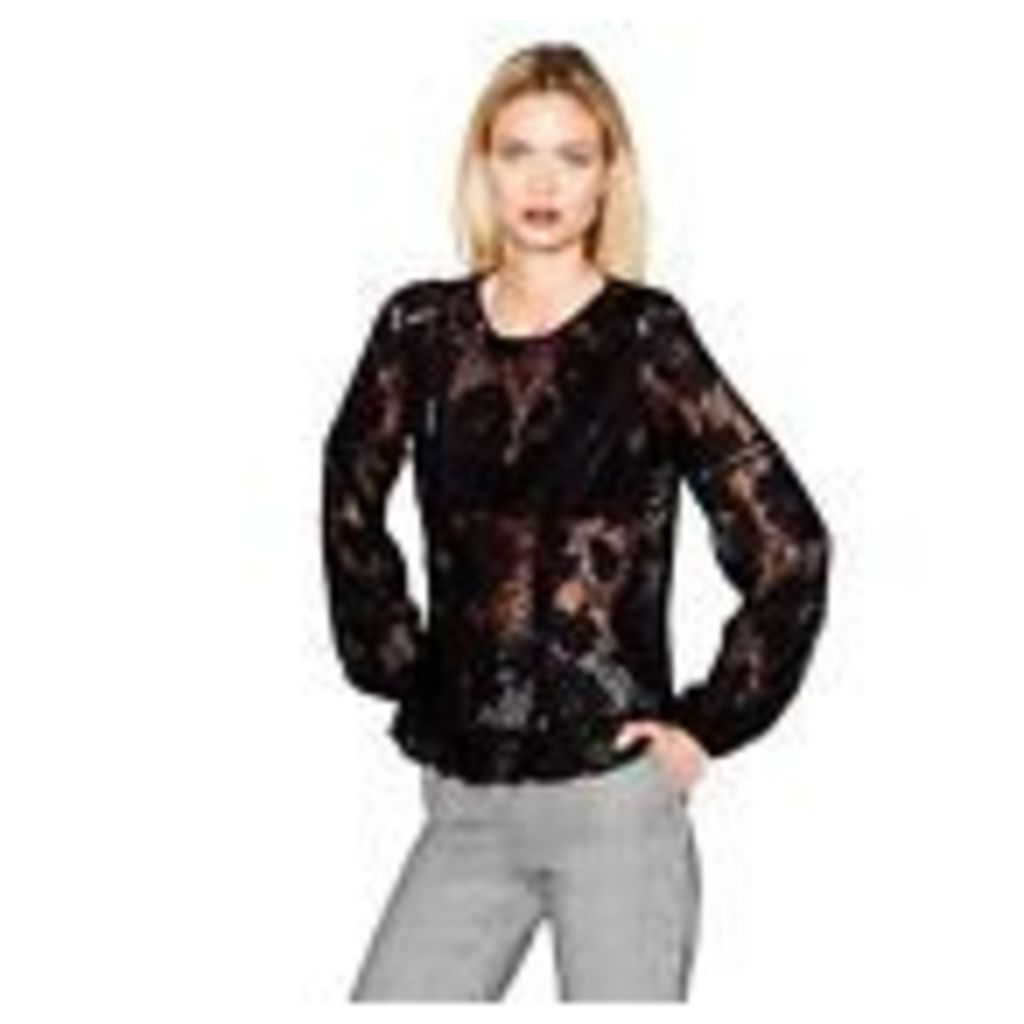 Studio By Preen Womens Black Lace Ruffle Trim Top From Debenhams